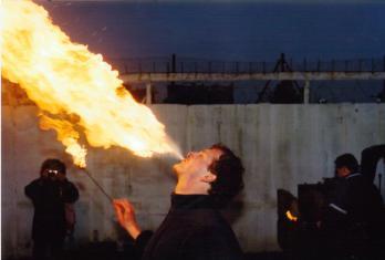 Mark emulates Vulcan, the god of fire.