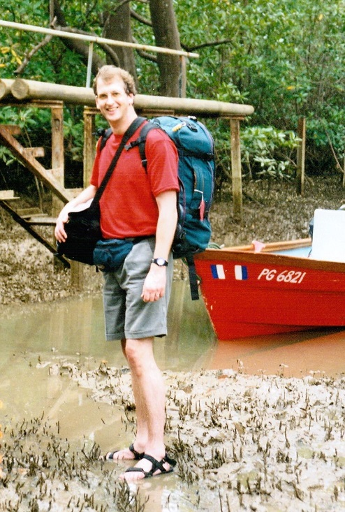 We arrived by boat and had to wade through the mosquito-infested swamp with our luggage.