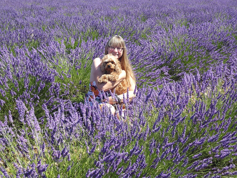 woman_holding_dog_in_lavender